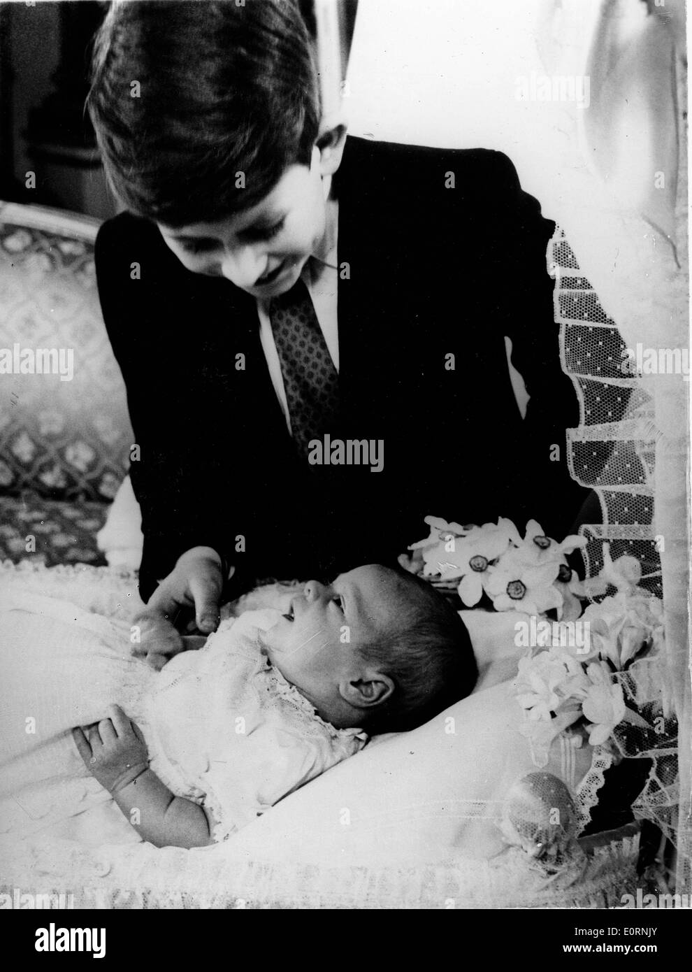 young prince charles plays with baby brother prince andrew