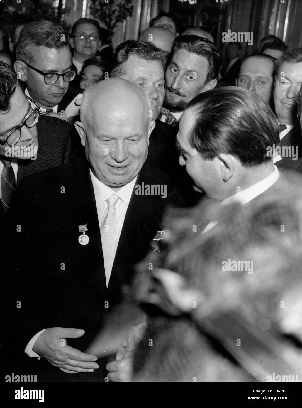 Prime Minister Nikita Khrushchev at event at the Soviet Embassy - Stock Image