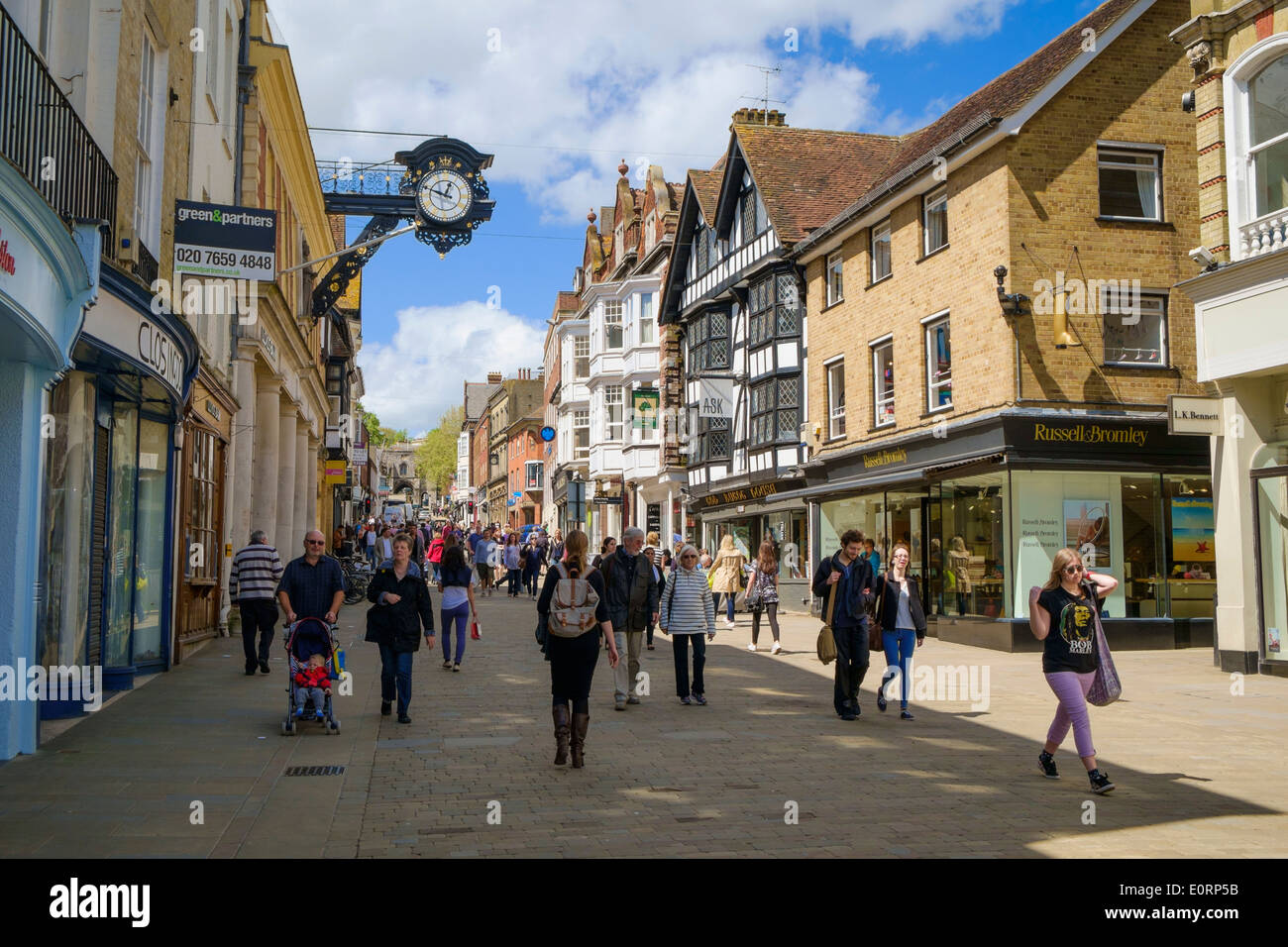 The High Street in Winchester, Hampshire, England, UK - Stock Image