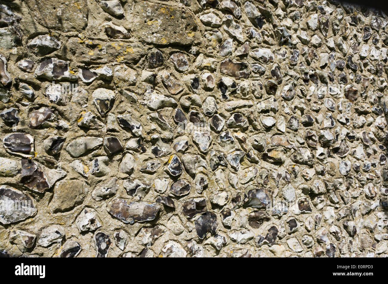 Medieval flint wall, England, UK - Stock Image