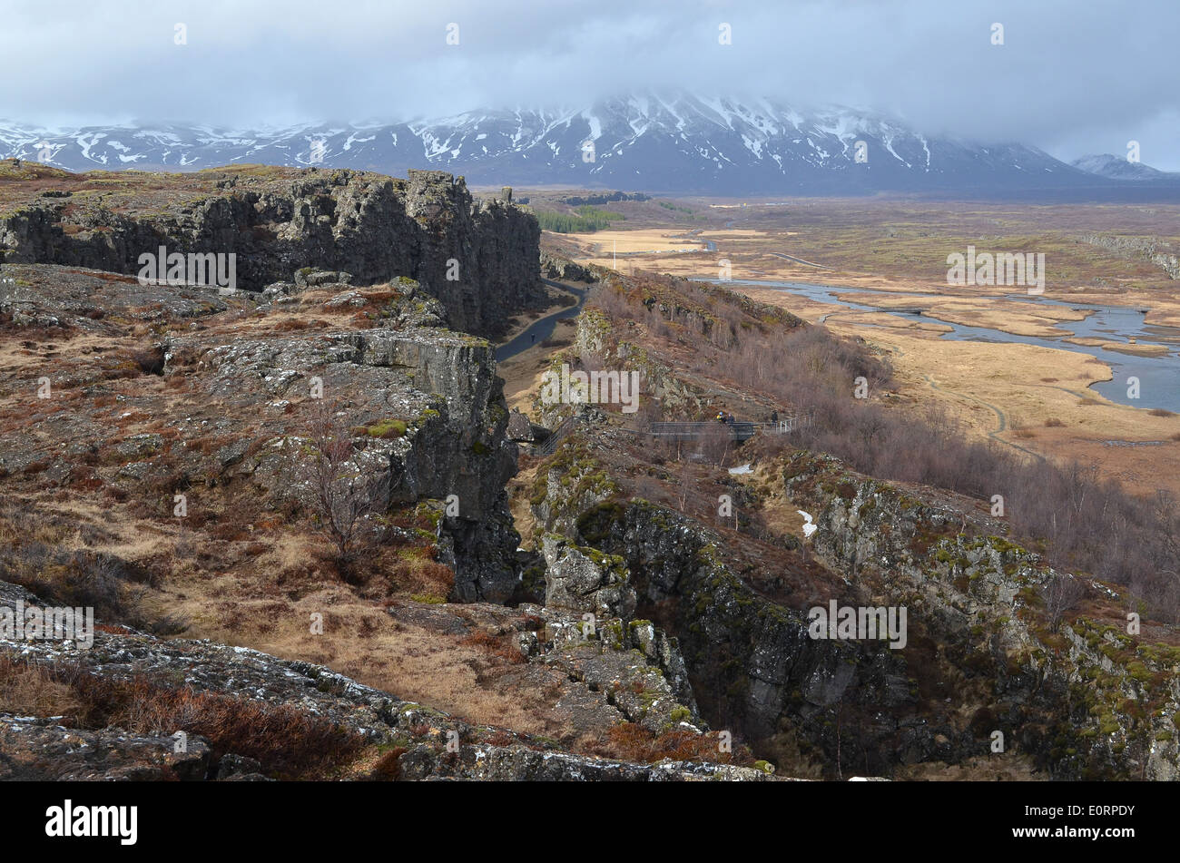 The Almannagjá rift between the American and Eurasian tectonic plates at Þingvellir, Iceland. - Stock Image