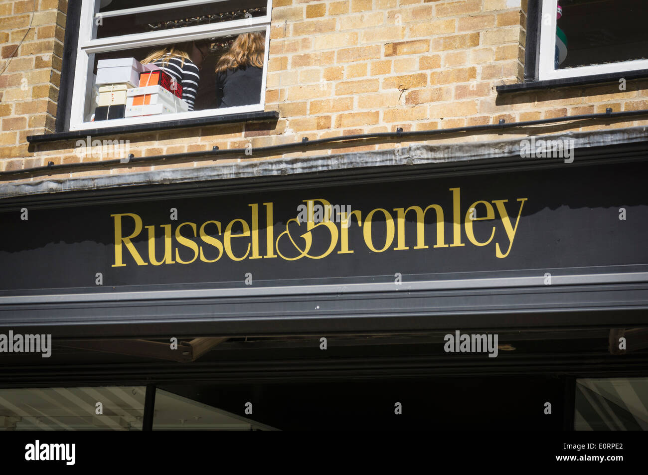 Russell and Bromley shoe store logo, UK - Stock Image