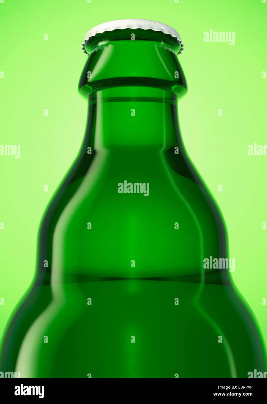 Green beer bottle with cap on a green background - Stock Image