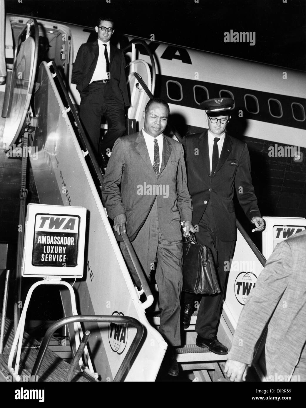 Civil rights activist James L. Farmer, Jr. arrives in New York - Stock Image