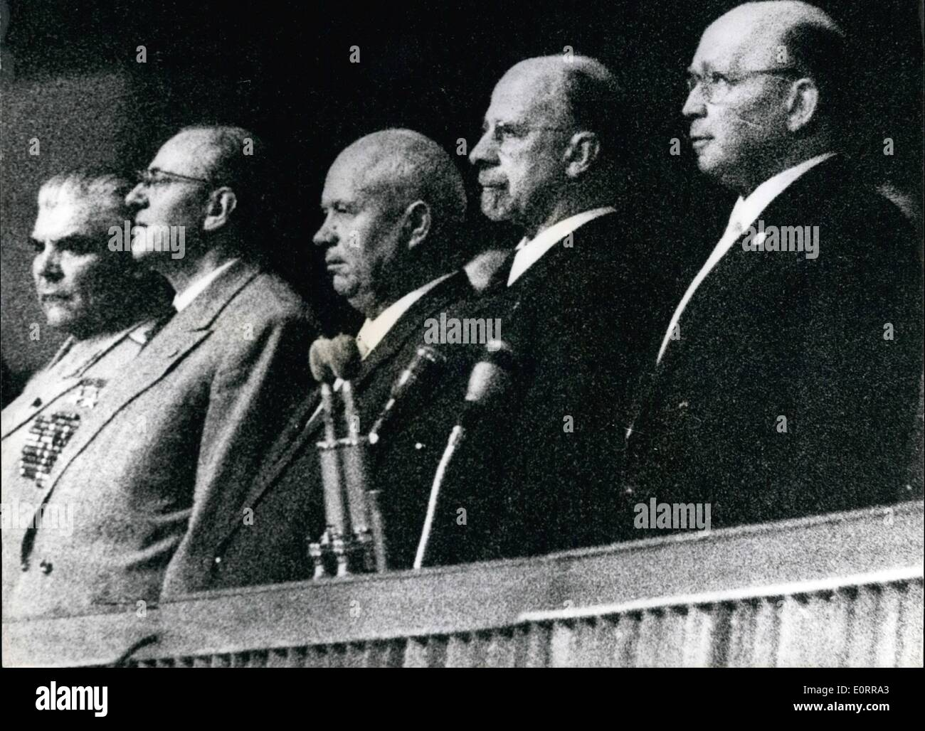 May 05, 1960 - Mr. Khruschev in his speech in eat Berlin last Friday said that the present stuation in Berlin would have to be maintained until another Summit Conference. He said that Russia would ''Do nothing to worsen international situation''- and bring back the cold war. In fact he said that his country woul do everything to achieve an improvement in international relations. Photo Shows: Mr - Stock Image