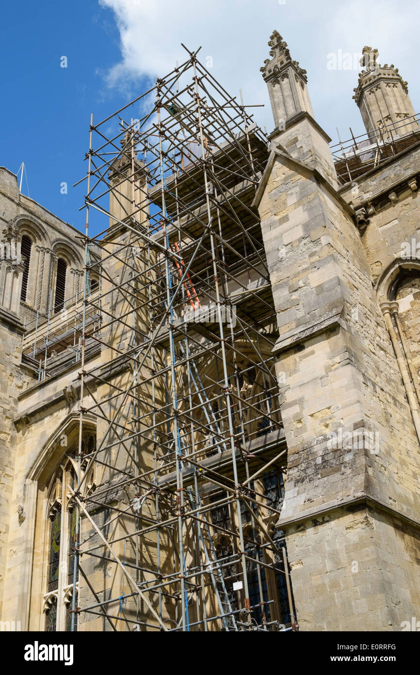 Scaffolding for restoration repair work, Winchester Cathedral, Hampshire, England, UK - Stock Image