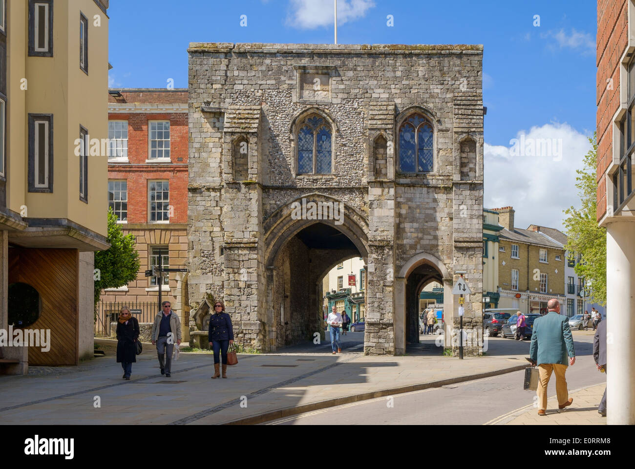 The Medieval gate into the city of Winchester, Hampshire, England, UK - Stock Image