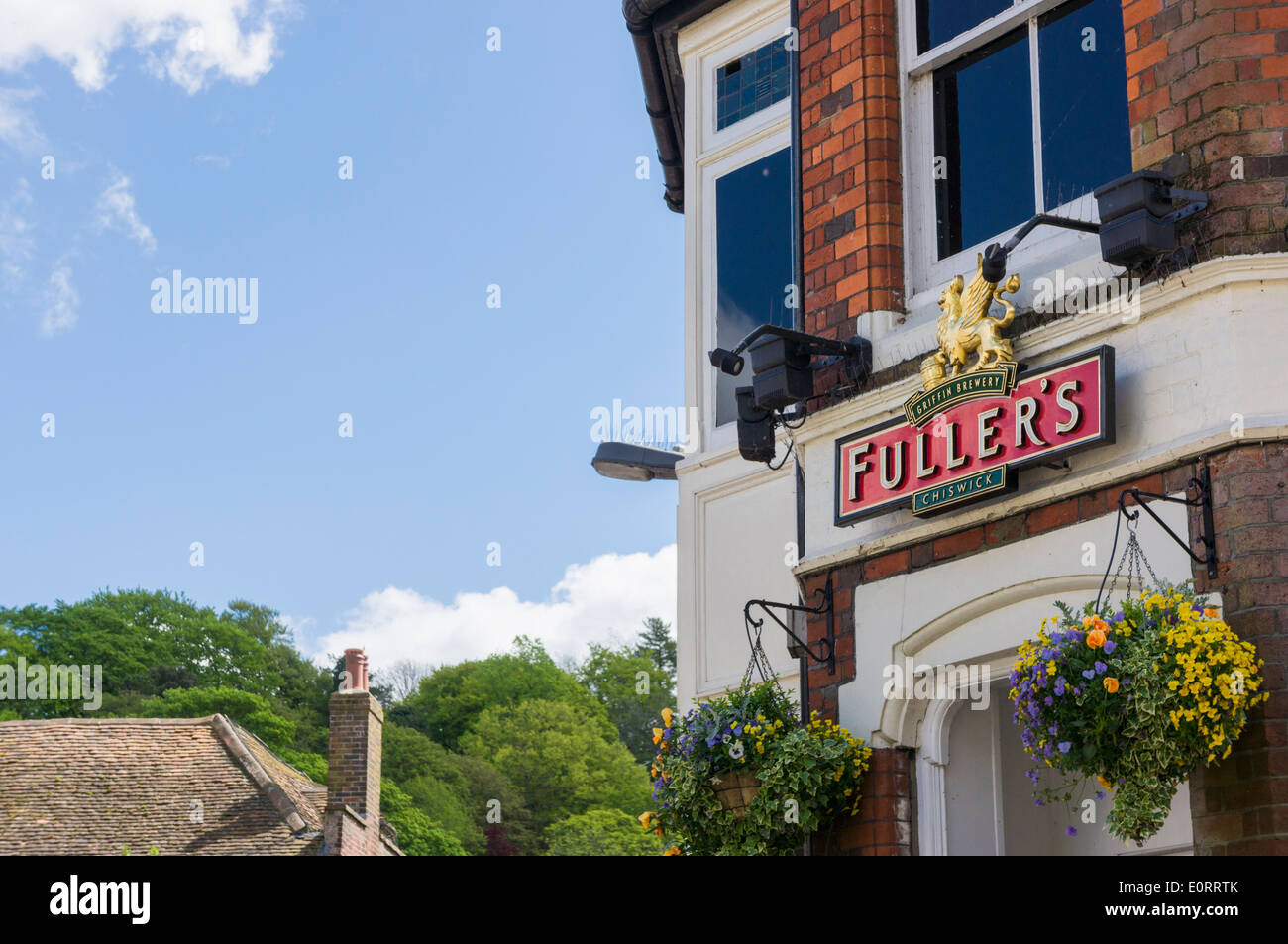 Fullers brewery logo on a pub, England, UK - Stock Image