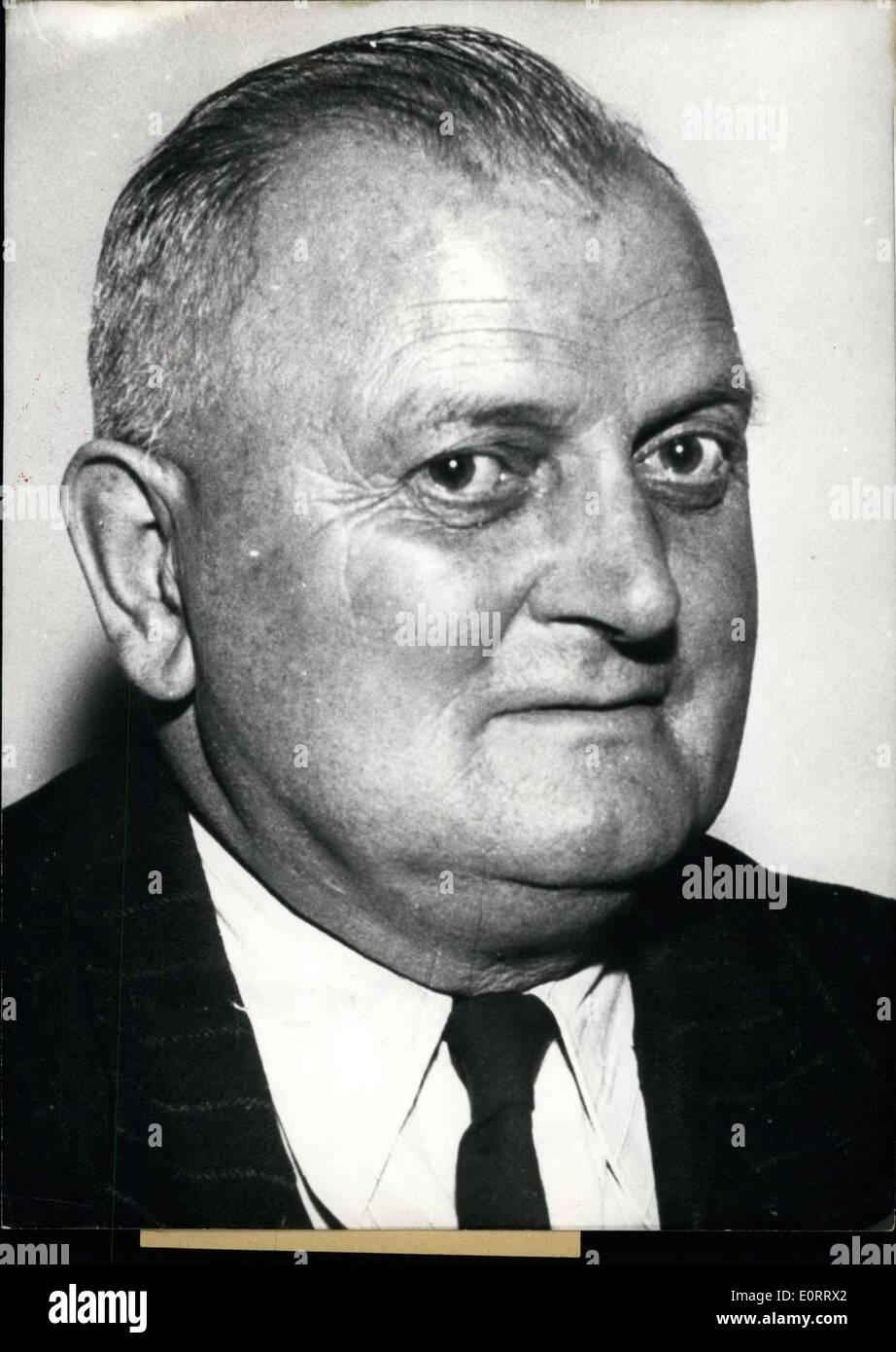 May 08, 1960 - Member of Parliament gave documents to the East: On Oct. 28th, the member of parliament (Socialist Democratic Party) Alfred Frenzel (ALFRED FRENZEL) was arrested. He is accused of having give important informations to the East. He has already pleaded guilty. Photo shows Alfred Frenzel. - Stock Image