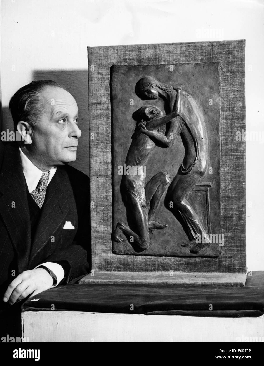 Artist Georg Ehrlich with work of art - Stock Image