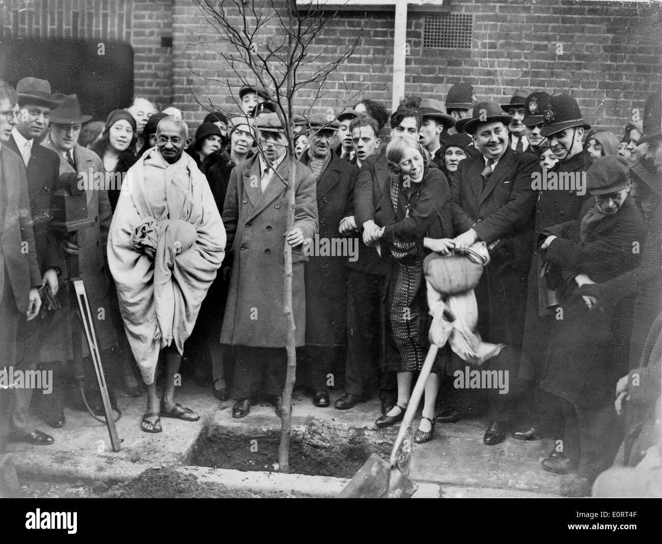 Mahatma Gandhi planted a tree outside of Kingsley Hall - Stock Image
