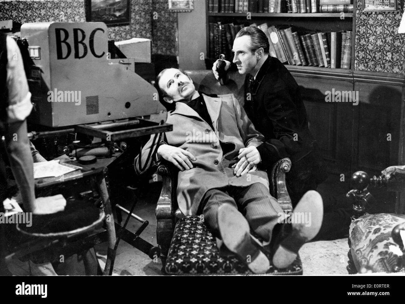 Actors Alan Wheatley and Raymond Francis in Sherlock Holmes - Stock Image