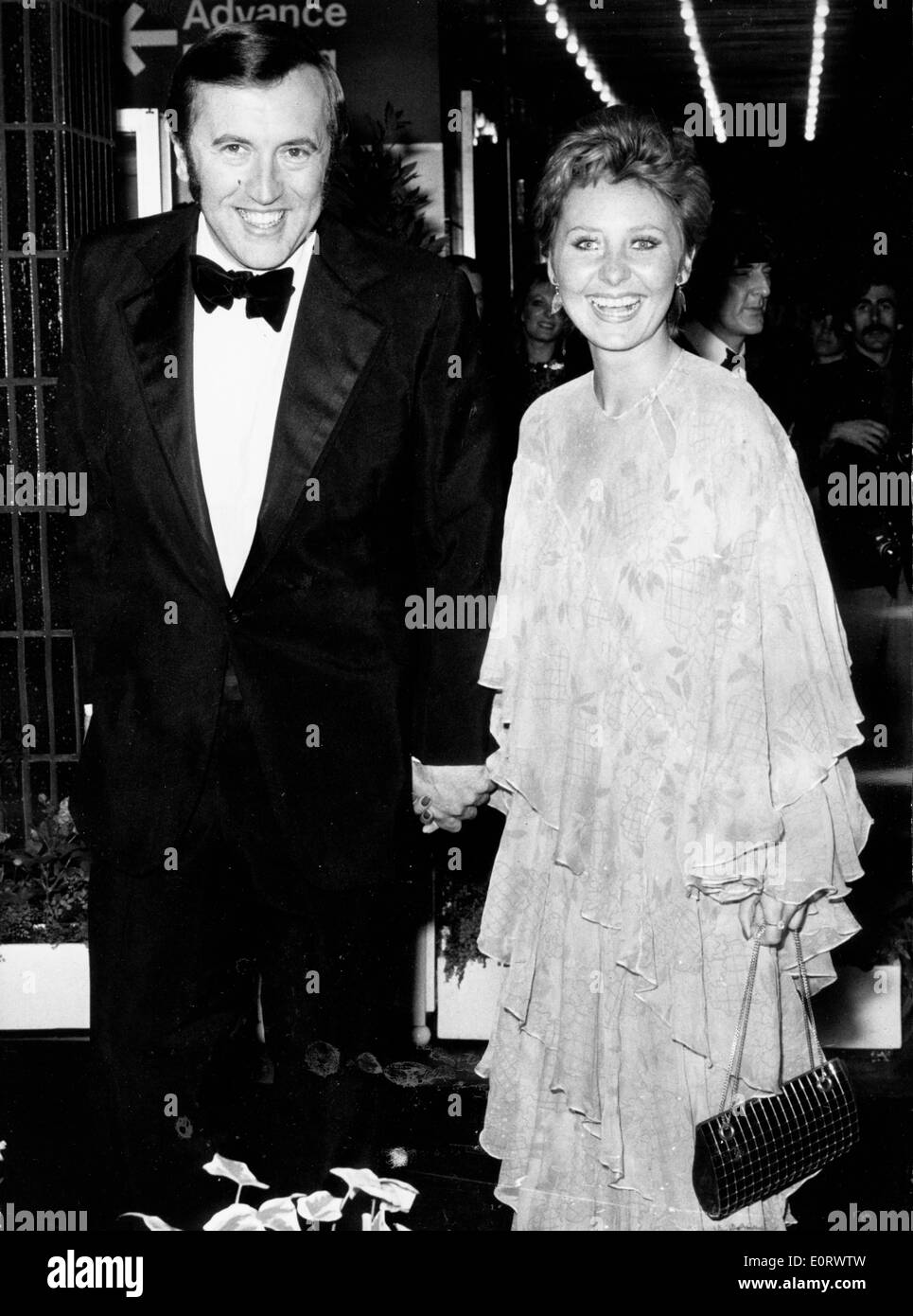 Journalist David Frost at an event with Lynne Frederick - Stock Image