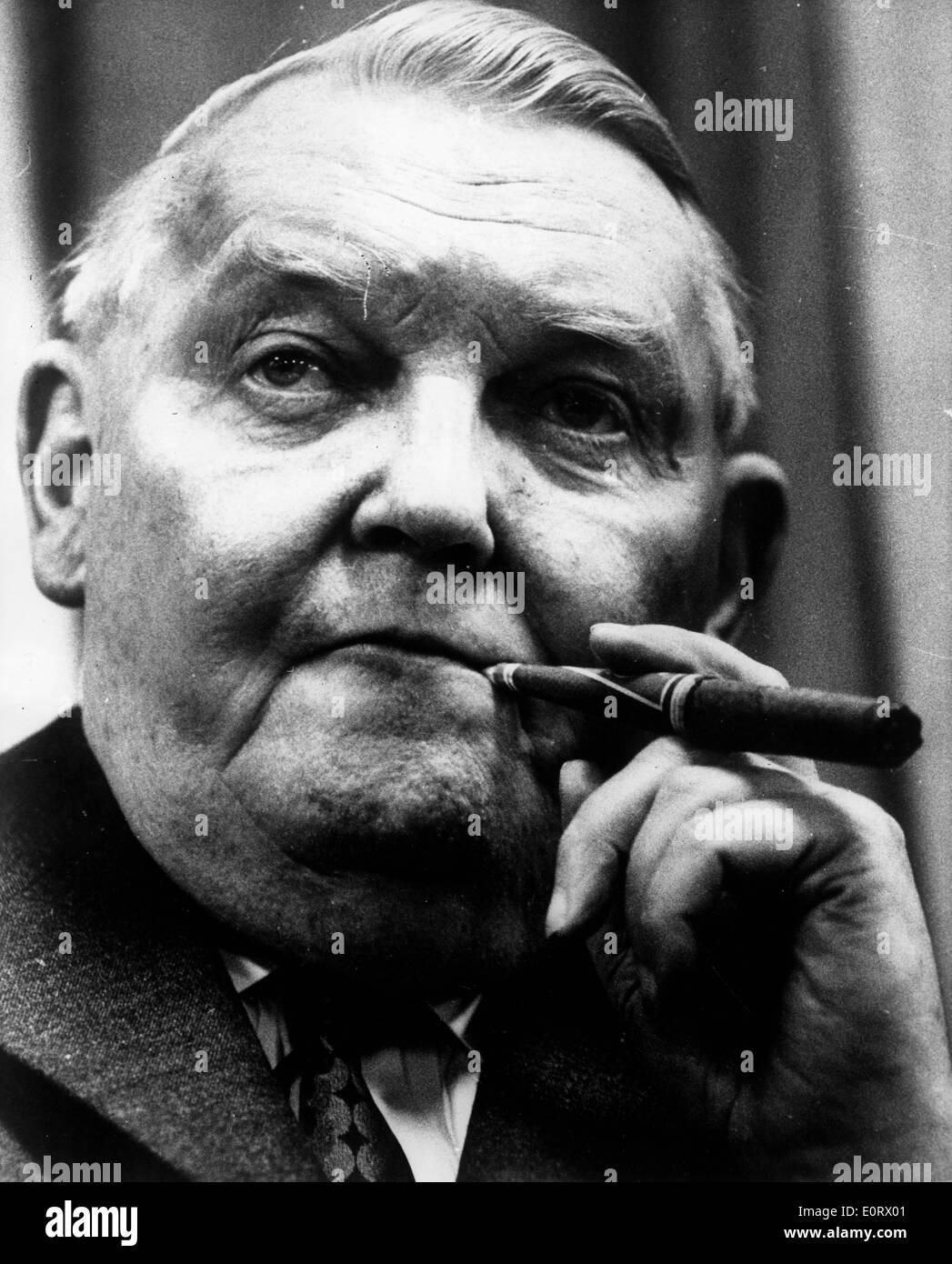 Ludwig Erhard smoking a cigar - Stock Image