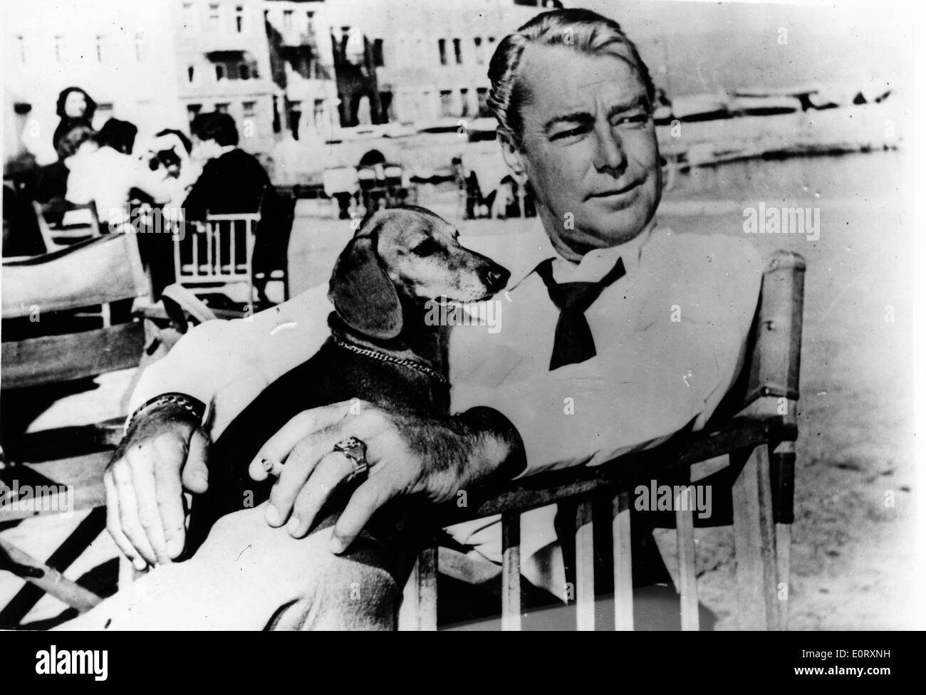 Actor Alan Ladd holding a puppy - Stock Image