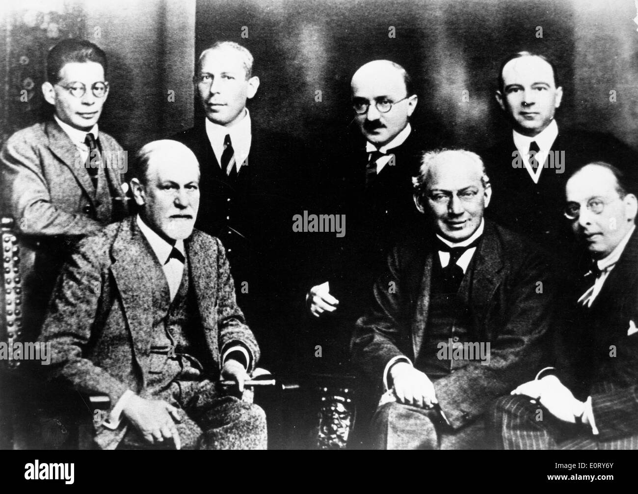 Portrait of neurologist Sigmund Freud and colleagues - Stock Image