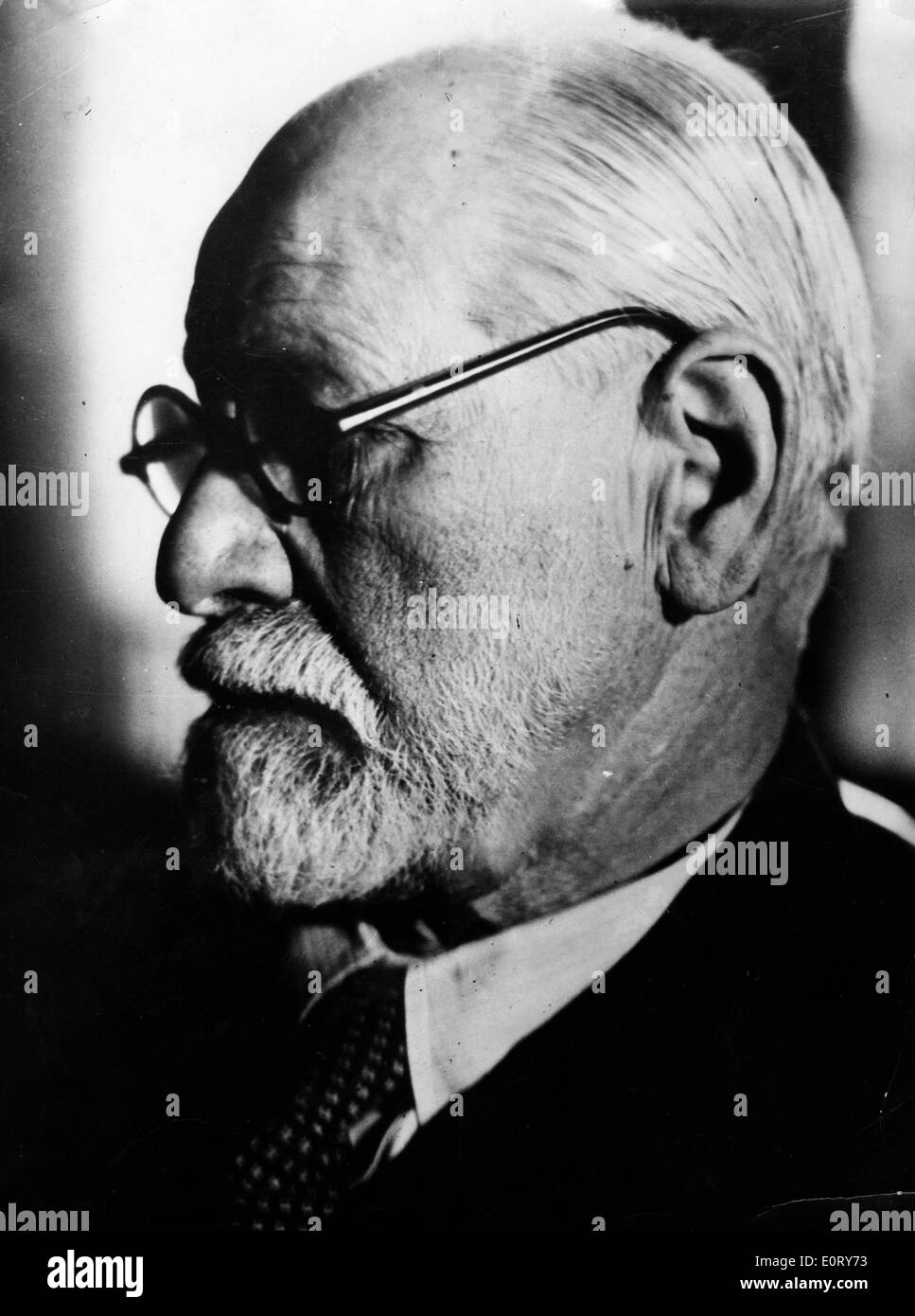 Portrait of the profile of Sigmund Freud - Stock Image