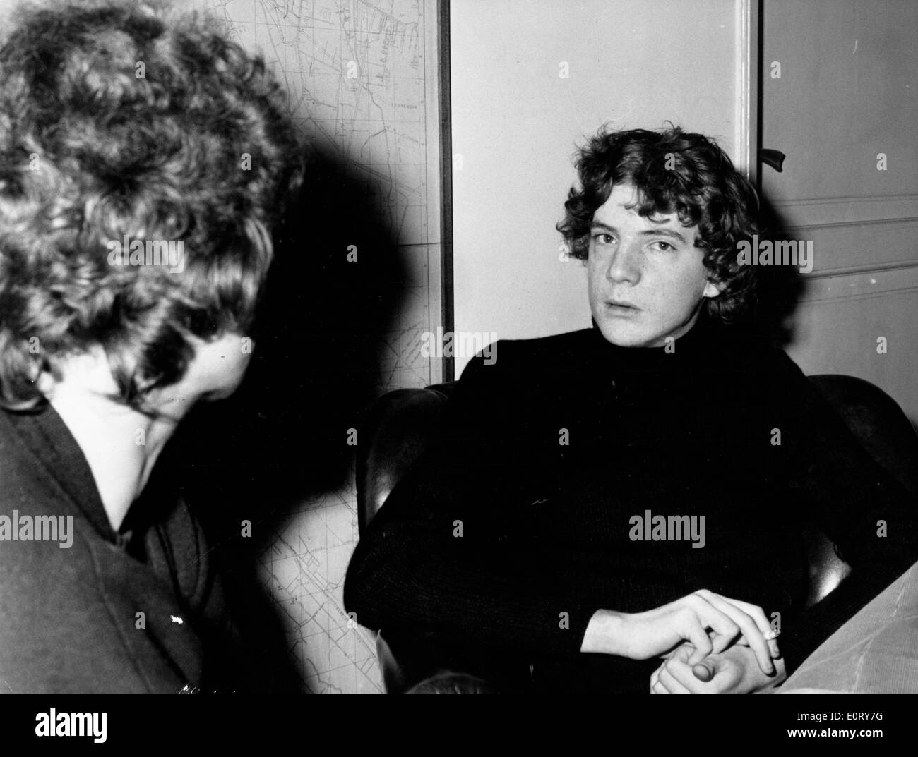 Philanthropist Paul Getty in an interview - Stock Image