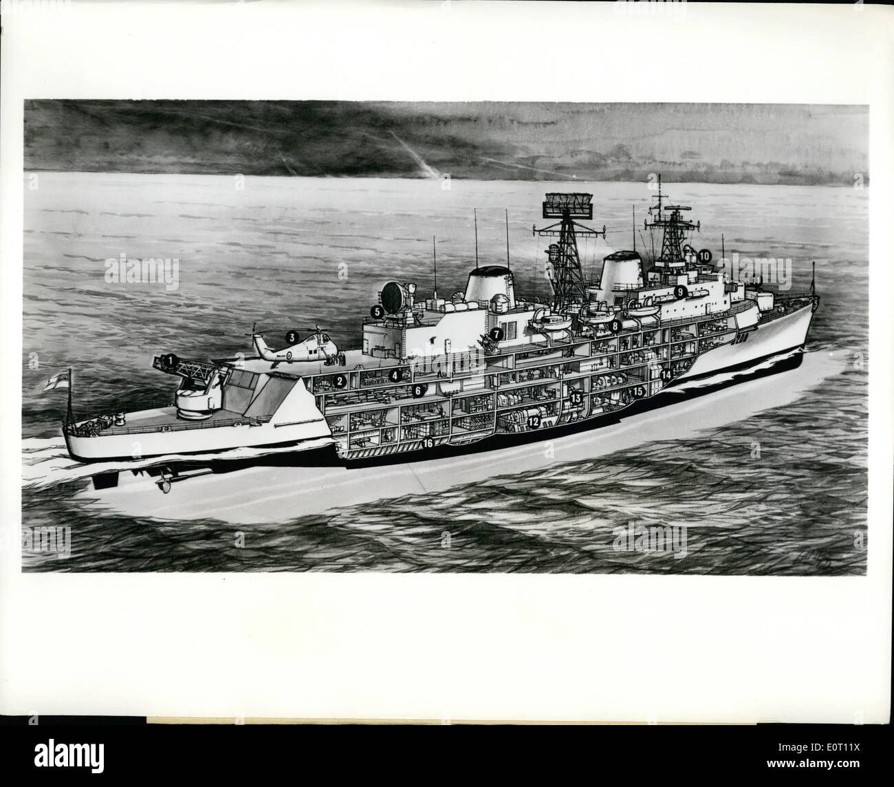 Jun. 06, 1960 - A cutaway drawing of H.M.S Devonshire, the first guided missile destroyer of Britain's Royal Navy, launched this month: (1) Seaslug Launcher, (2) Chief Petty officer' Mess, (3) Wessex anti-submarine helicopter, (4) crews dining hall, (5) missile-guidance radar, (6) missile stowage, (7) Seacat close range anti-aircraft missile, (8) homing anti-submarine torpedo tubes, (9) inflatable life rafts, (10) enclosed bridge, (11) 4.5 twin gun mountings, (12) gas turbine room, (13) gearing room, (14) boiler room, (15) steam turbine room, and (16) fuel tanks - Stock Image