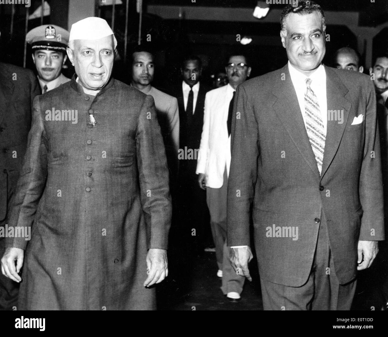 Jawaharlal Nehru with Gamal Abdel Nasser on his visit to CairoStock Photo