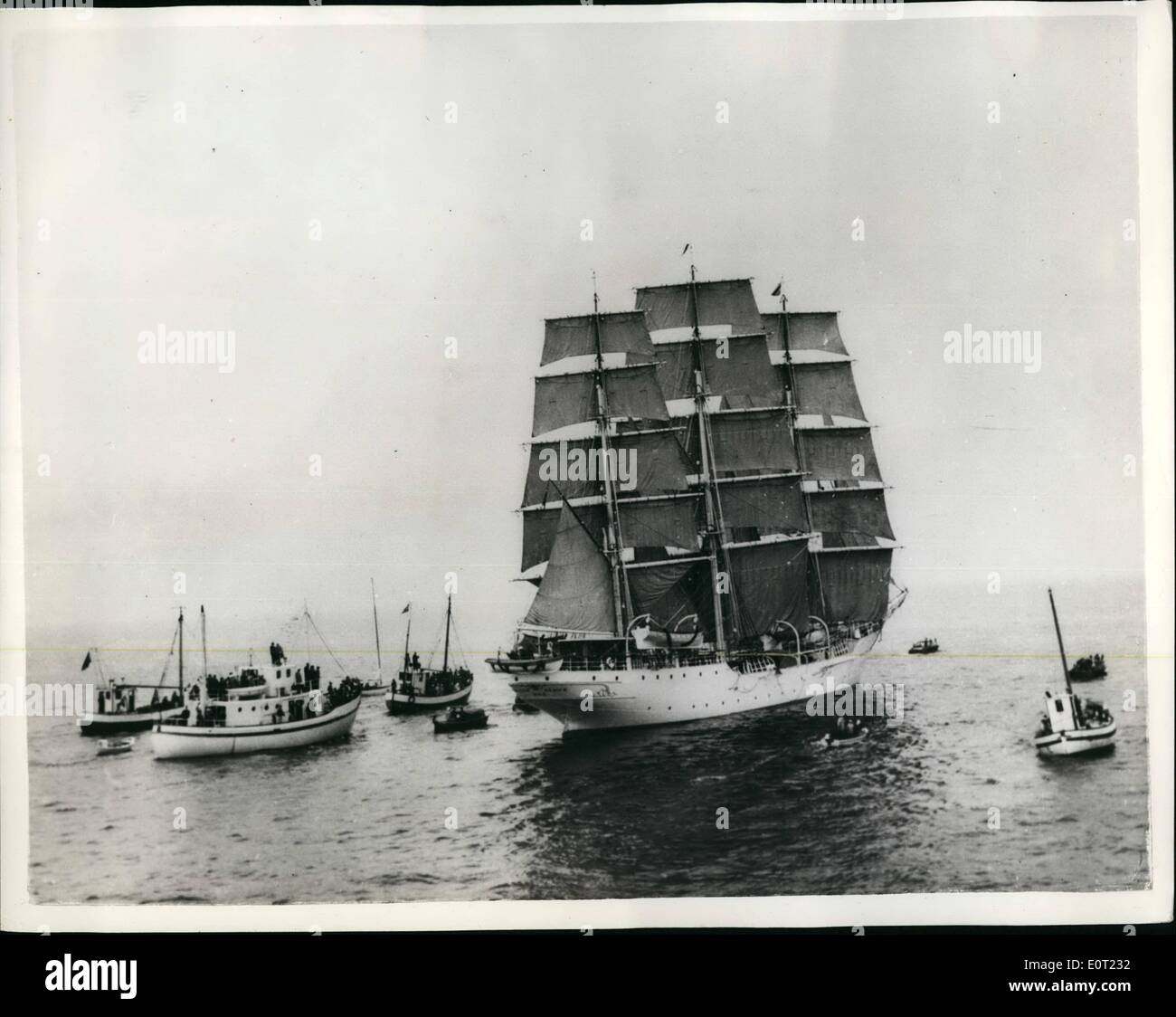 Jul. 07, 1960 - Sailing Ship In Race to Ostend: Training ships from eight nations, including eighteen from Britain, are taking part in the 587-mile race from the Norwegian naval base of Horten, near Oslo, to the North Hnder Light, near Ostend. Photo shows The famous ship ''Christian Radich'', which took part in the film ''Windjammer'', pictured just after the start of the race. - Stock Image