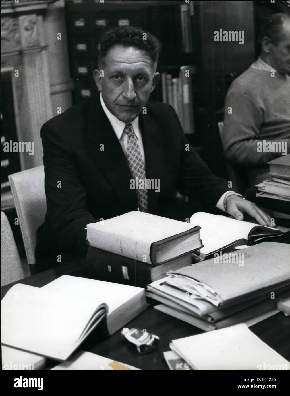 Jul. 07, 1960 - Commander Selinger - leader of the team who collected evidence for capture of Ex-Jew baiter Adolf Eichmann: Adolph Eichmann the ex Nazi Jew-baiter is passing his time in an Israel jail by writing his memoirs - his story of the murder of six million Jews. Commander selinger. Polish born ex-student of the London School of Eichmann sine his arrest in Argentine - is in London Accumulating data for the forthcoming trial of Eichmann . Commander Selinger is the boss of Bureau Six - the organisation set up in Israel to collect evidence against Eichmann - Stock Image