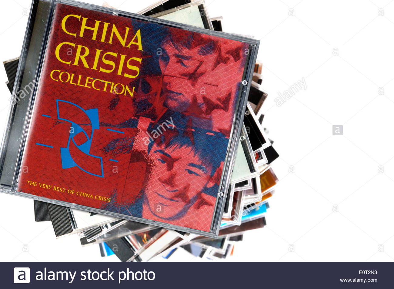 China Crisis collection album, piled music CD cases, England - Stock Image