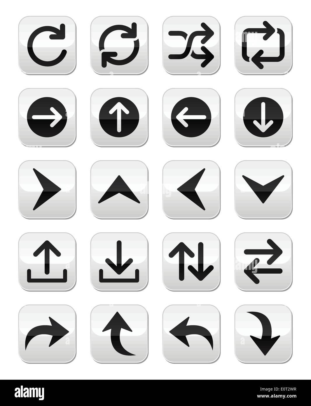 Arrow vector button sets isolated on white - Stock Image