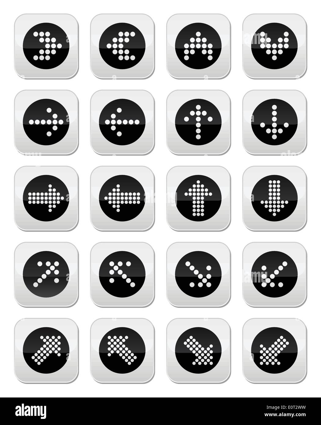Dotted arrows round icons set isolated on white - Stock Image