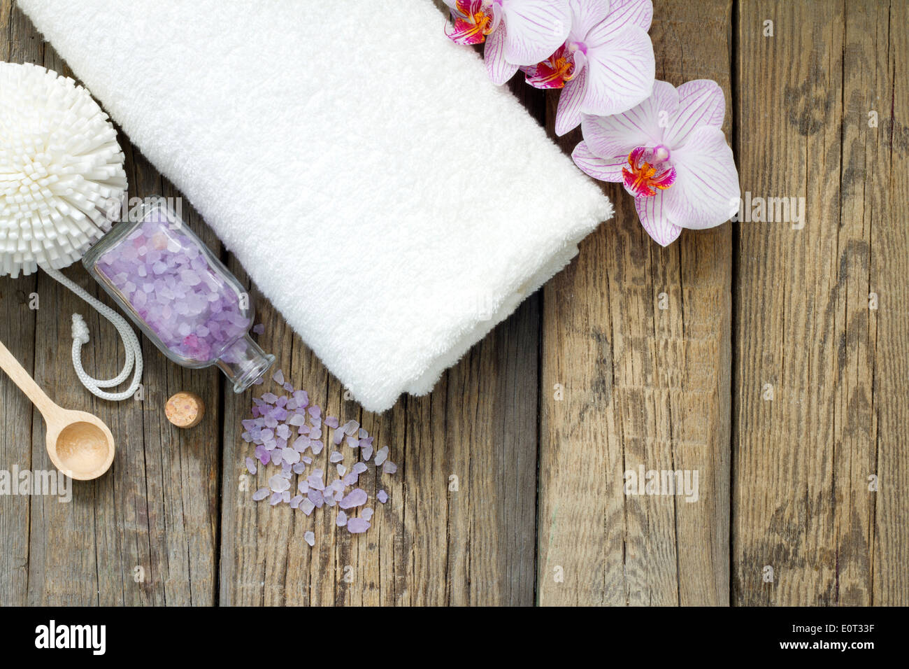 Aromatherapy spa massage tools to body care still life concept - Stock Image