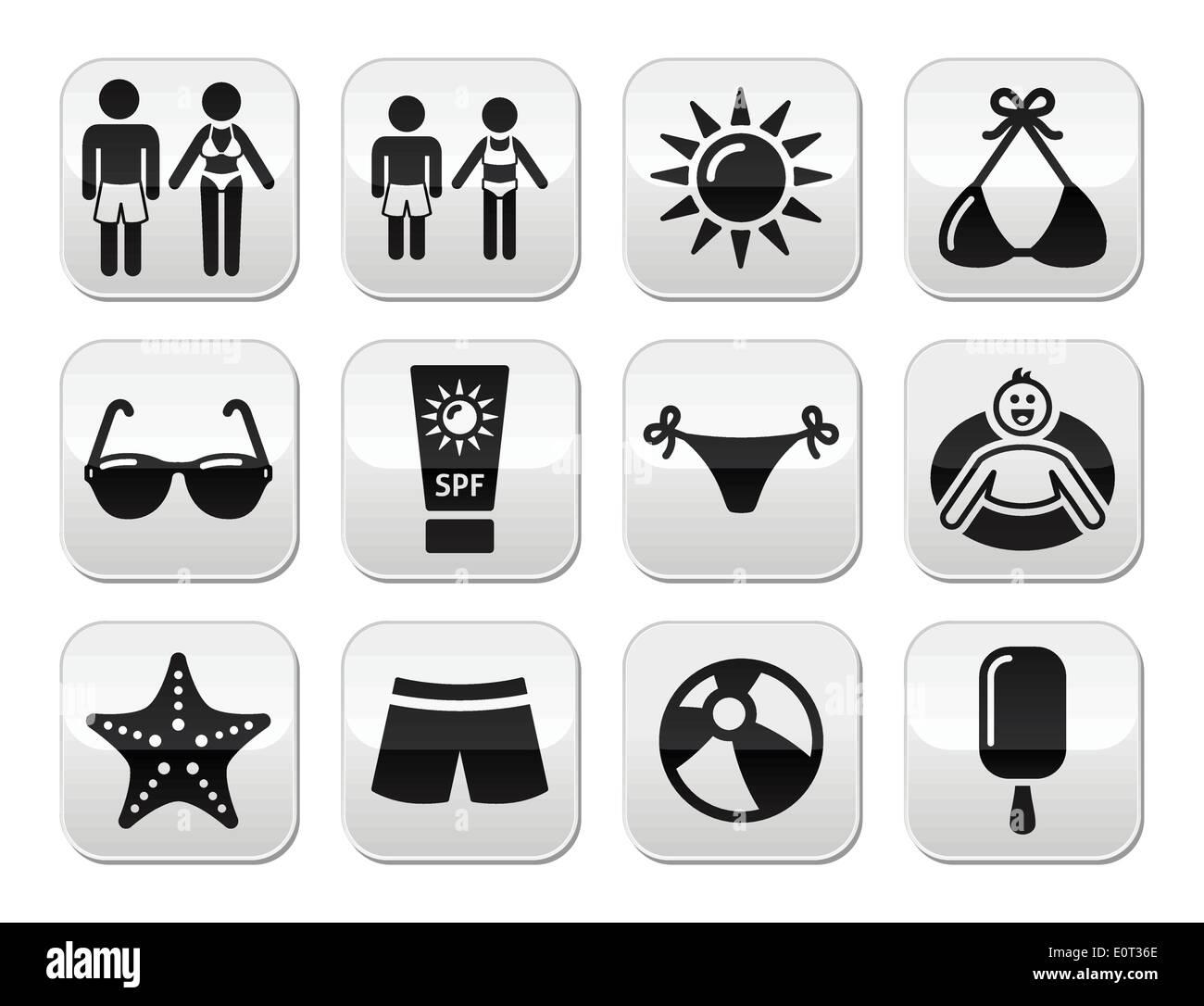 Summer beach holidays vector buttons set - Stock Image