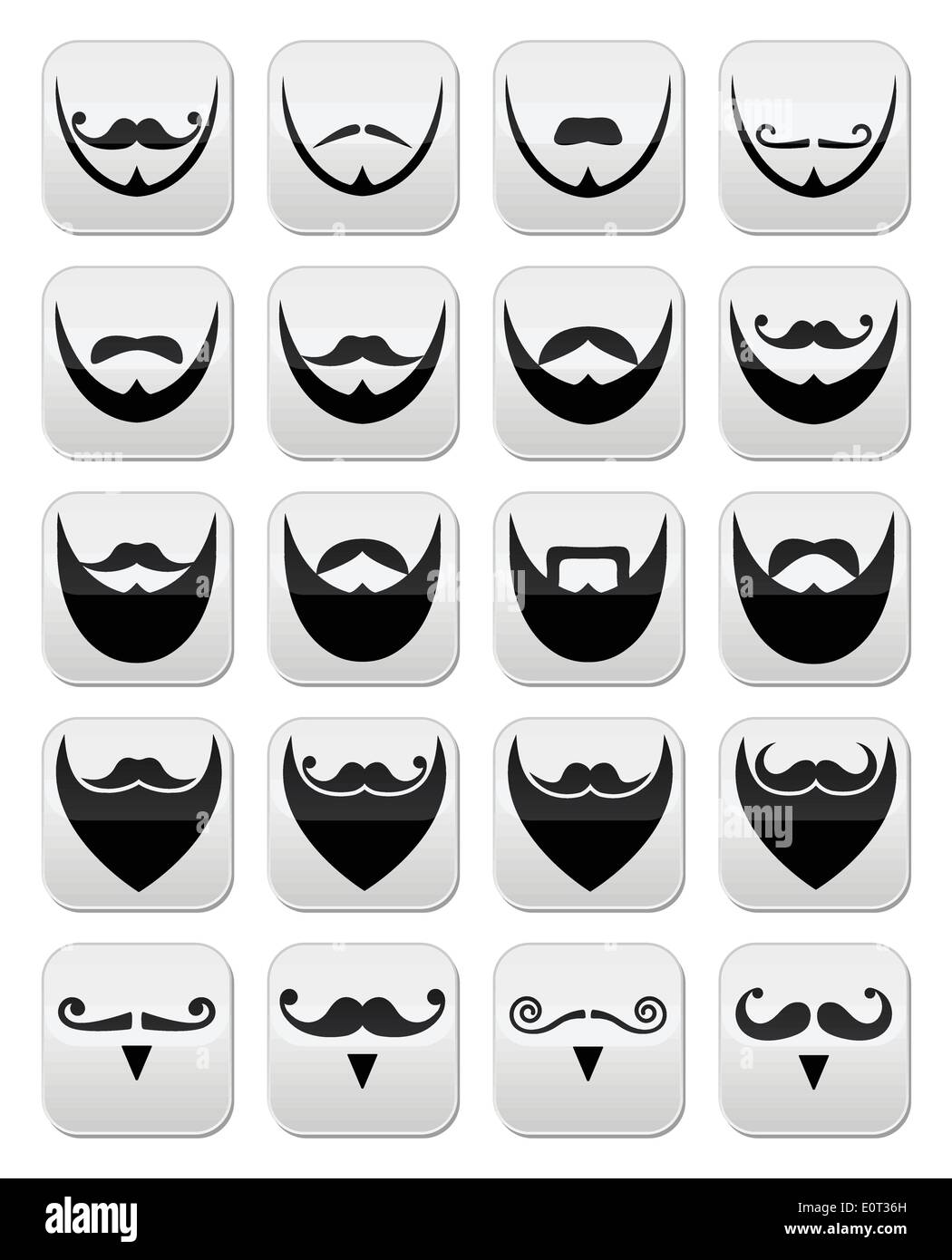 Beard with moustache or mustache vector icons set - Stock Image