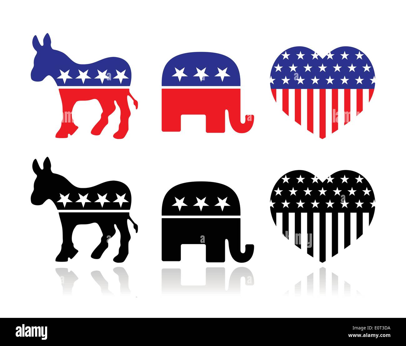 Usa Political Parties Symbols Democrats And Republicans Stock