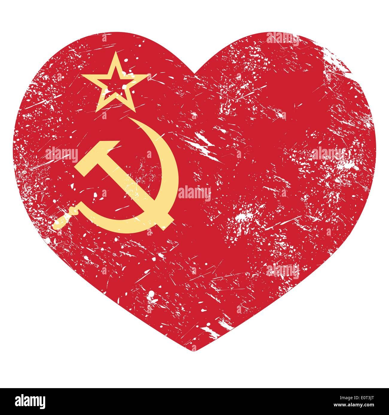 Communism USSR - Soviet union retro heart flag - Stock Image