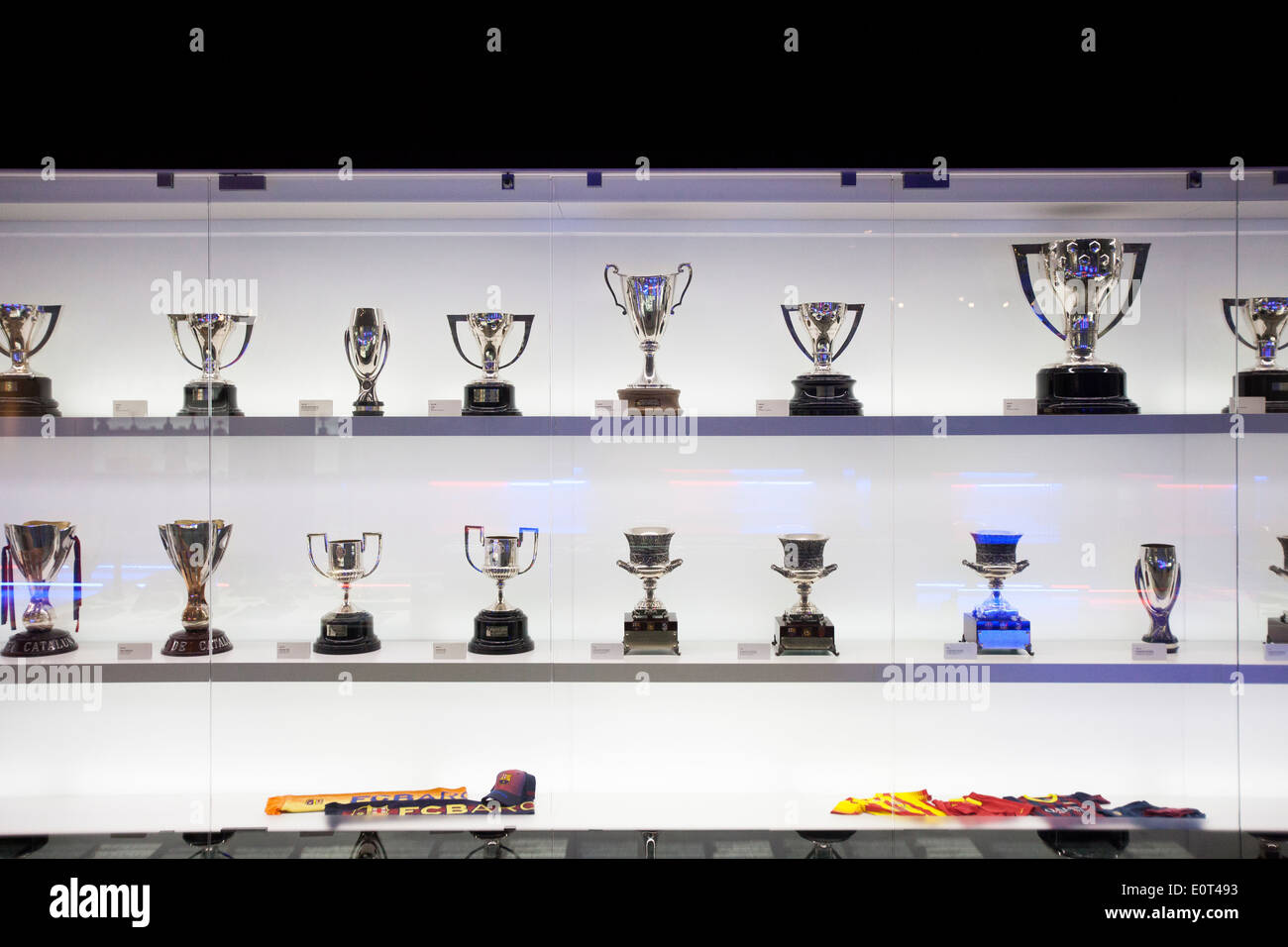 Trophys at the FC. Barcelona museum - Stock Image