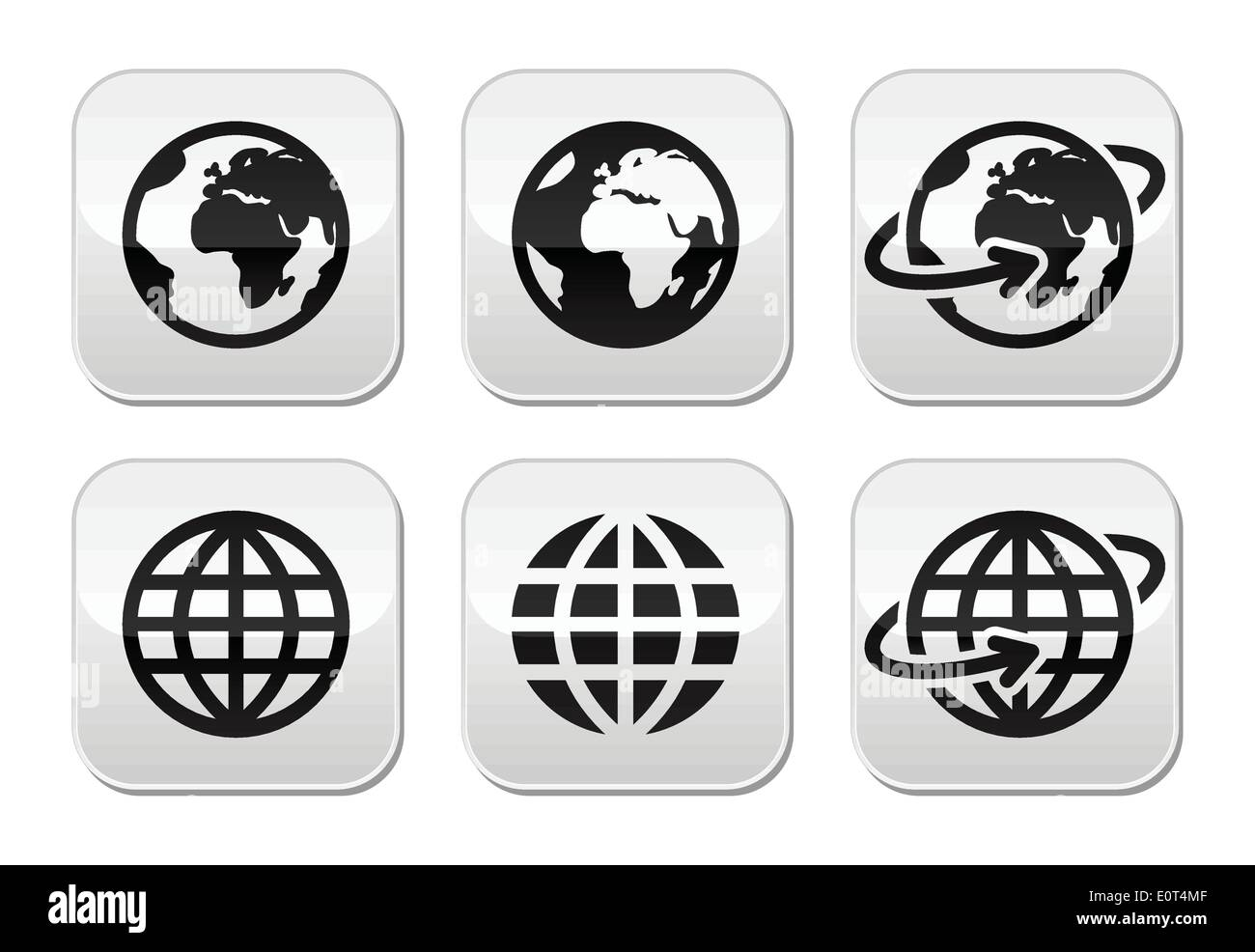 Globe earth with hands vector icons set with reflection - Stock Image