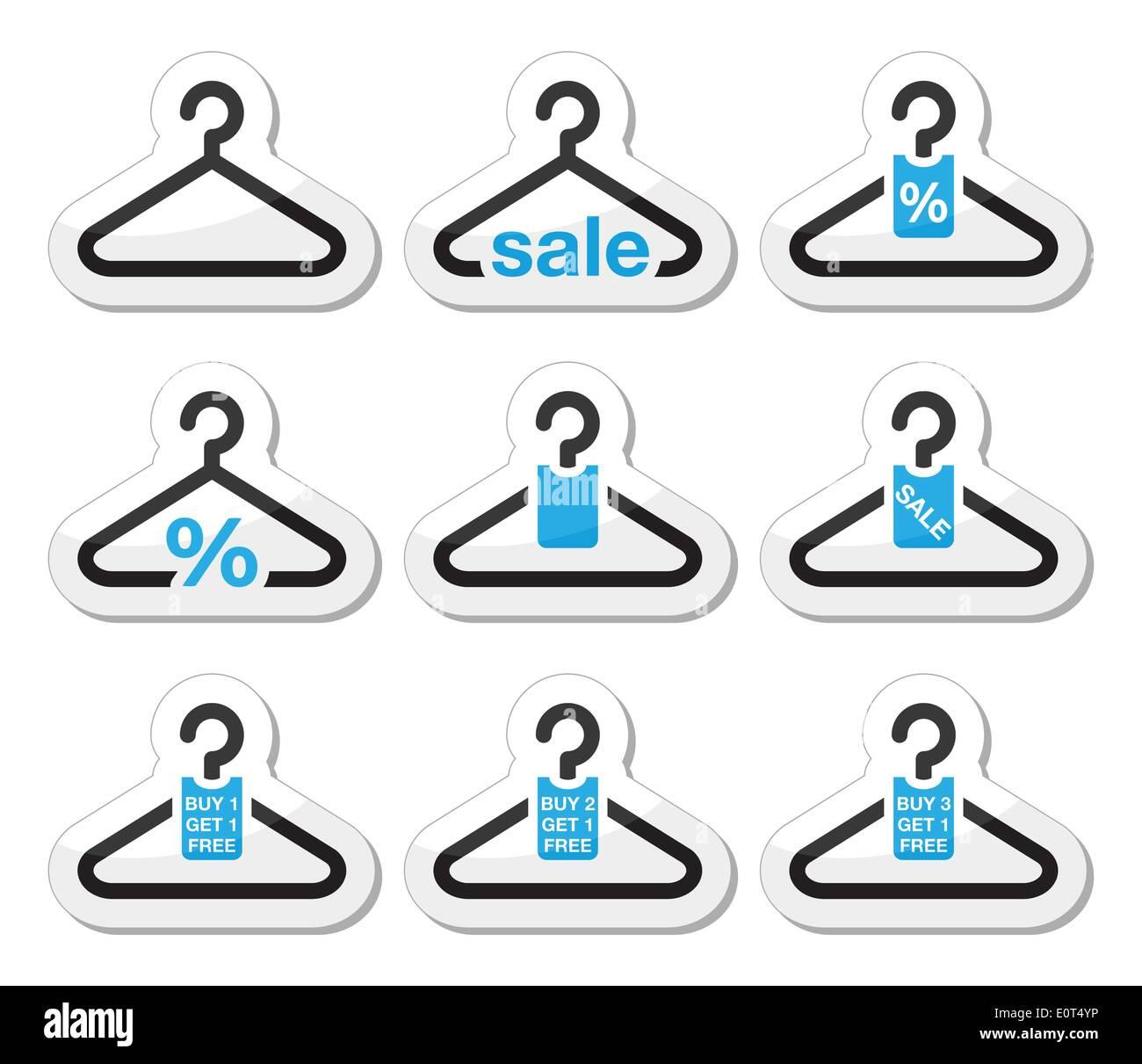 Sale, buy 1 get 1 free hanger icons set Stock Vector Art