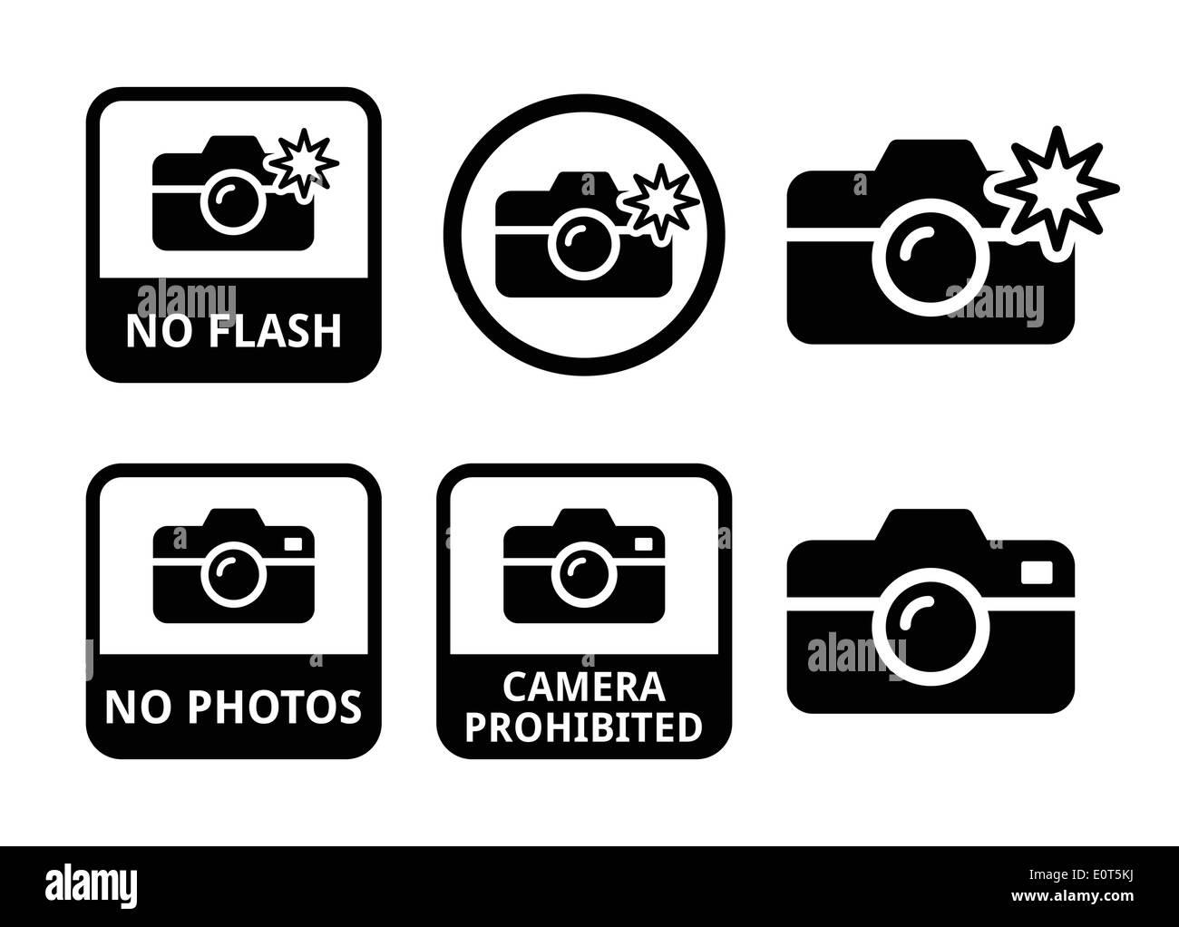 No photos, no cameras, no flash icons - Stock Image