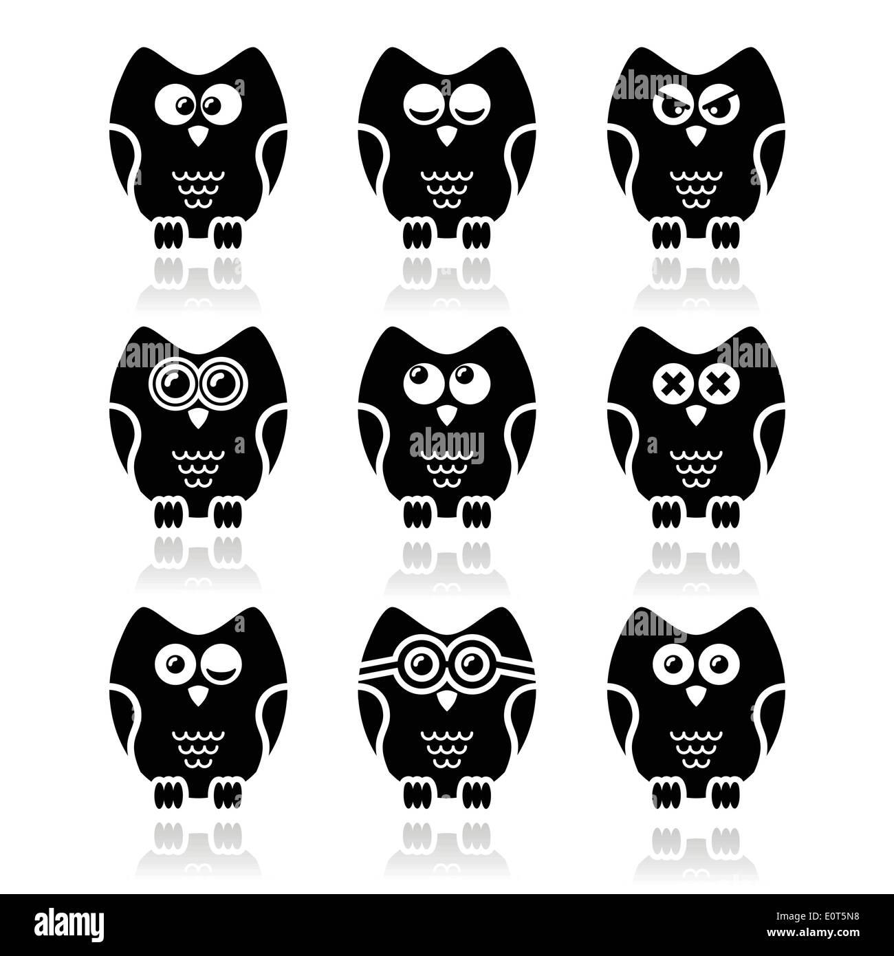Owl cartoon character vector icons set Stock Vector