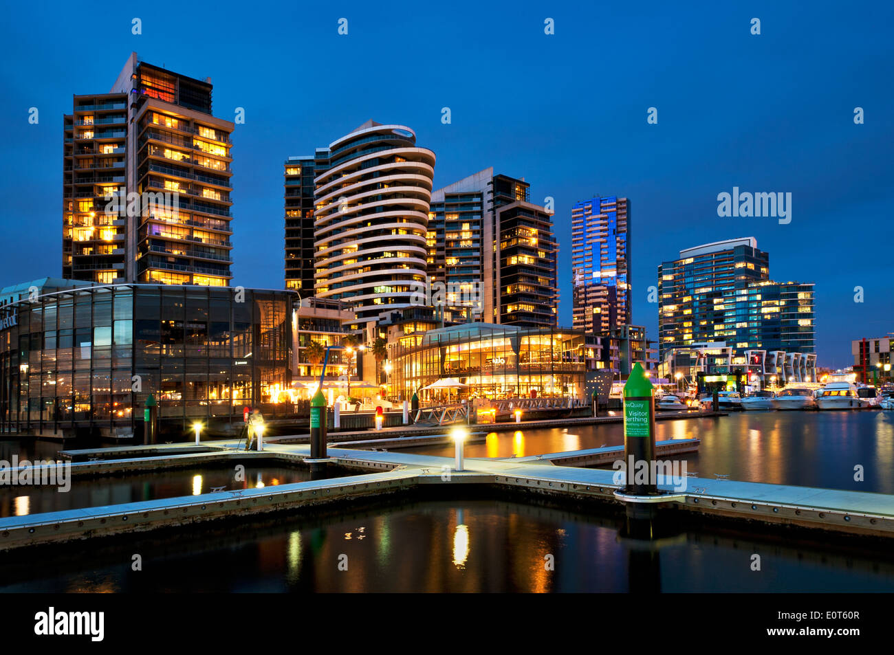 Melbourne Docklands at night. - Stock Image