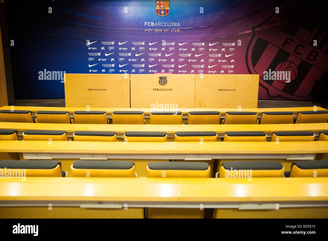 Press conference room in the Football Club Barcelona stadium - Stock Image