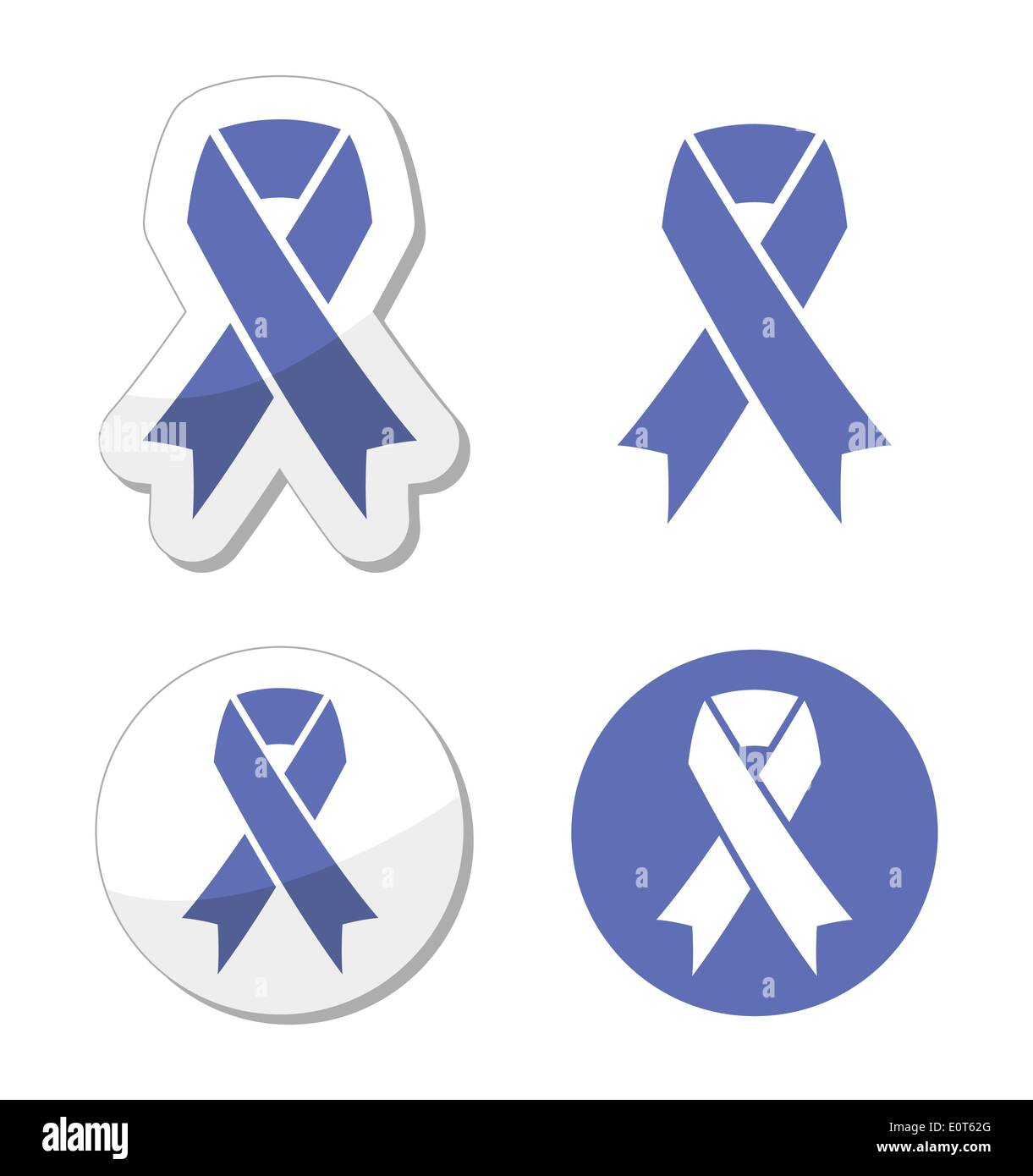 Periwinkle ribbons set - eating disorder symbol - Stock Image