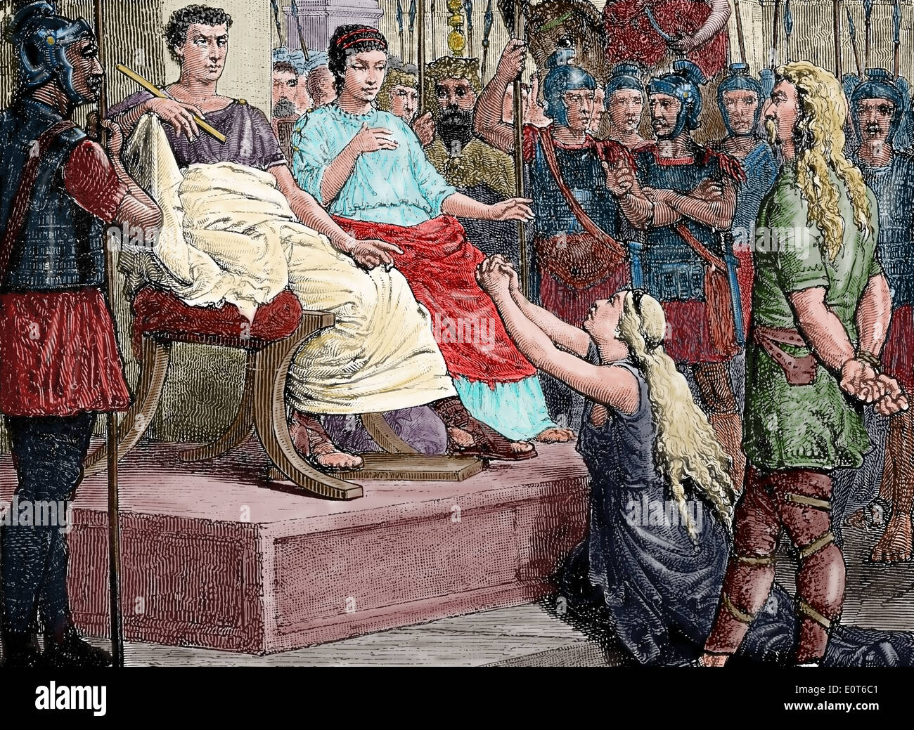 Caractacus( British chieftain of the Catuvellauni tribe) before the Emperor Claudius at Rome. Engraving.Color. - Stock Image