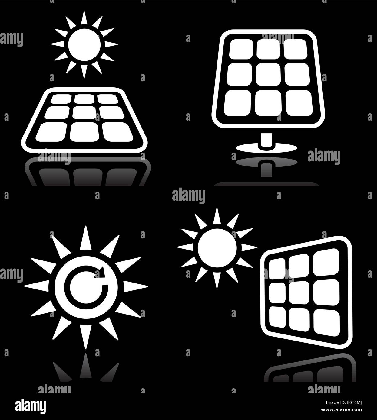 Solar panels, solar energy white icons set on black - Stock Image