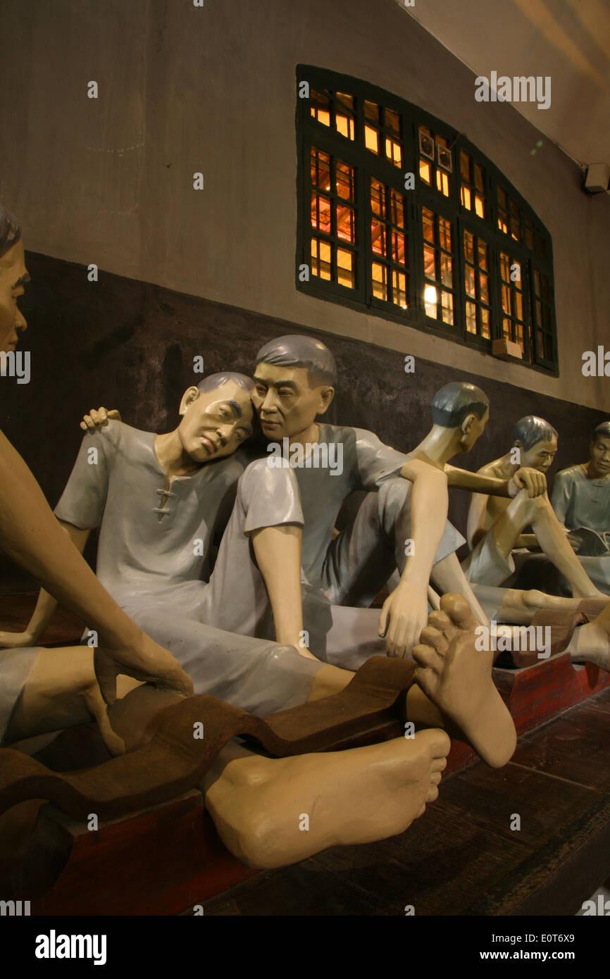 Recreation of cruel conditions in Hoa Lo Prison Museum in Hanoi. - Stock Image