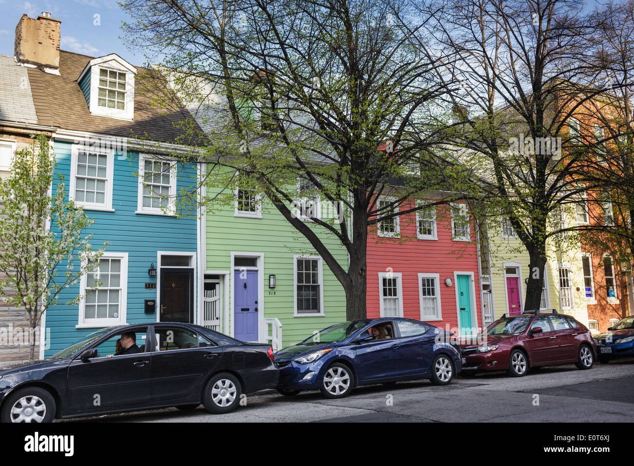 Colorful row homes, historic Fells Point, Baltimore, Maryland, USA ...