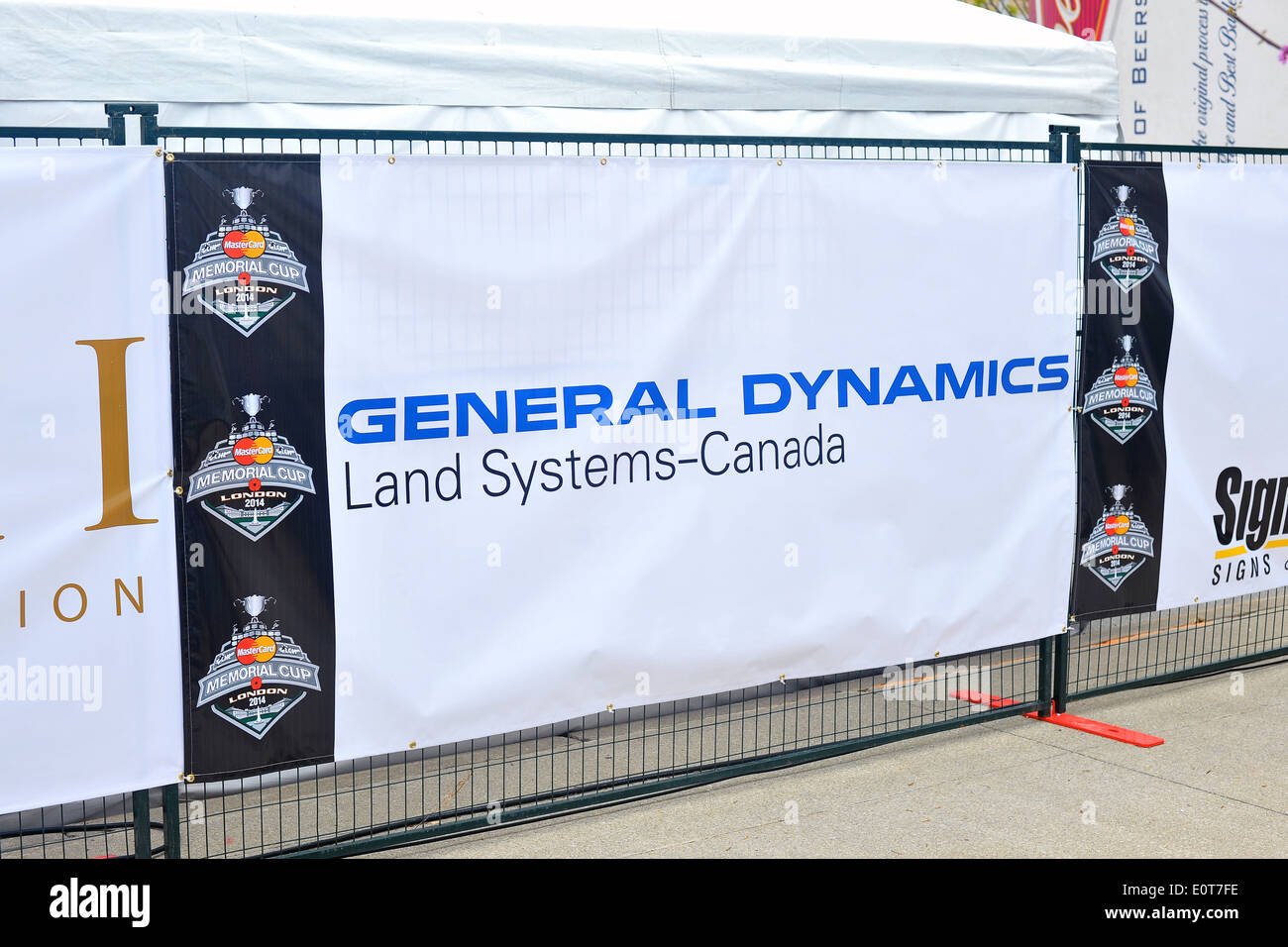 A General Dynamics Land Systems Canada poster. - Stock Image