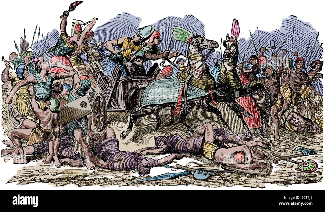Battle between Egyptians and Ethiopians, with a few slain men on the group and other men fighting on horse. 19th century. - Stock Image