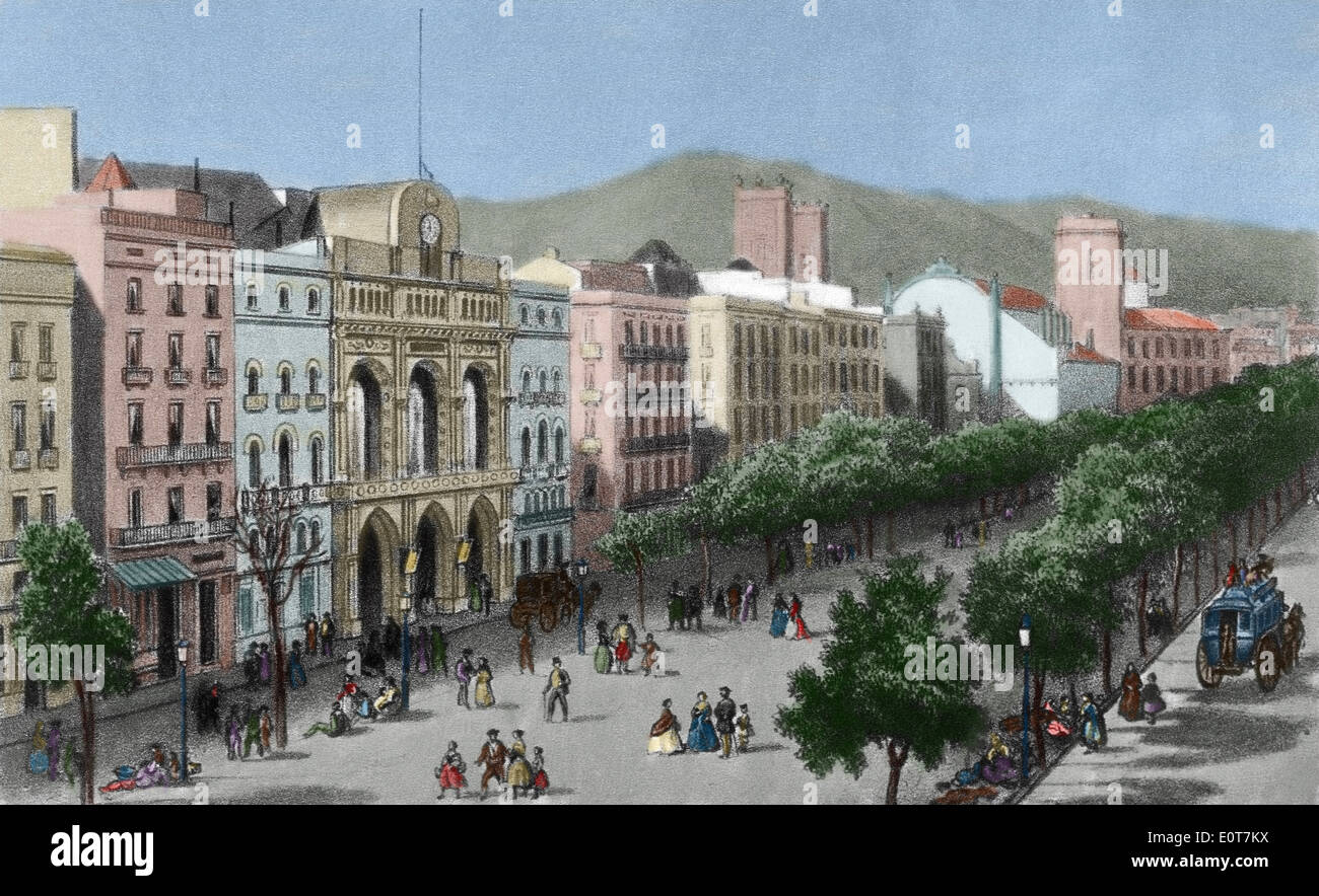Spain. Catalonia. Barcelona. Las Ramblas and the Liceu opera house before its fire in 1861. Engraving. Colored. - Stock Image