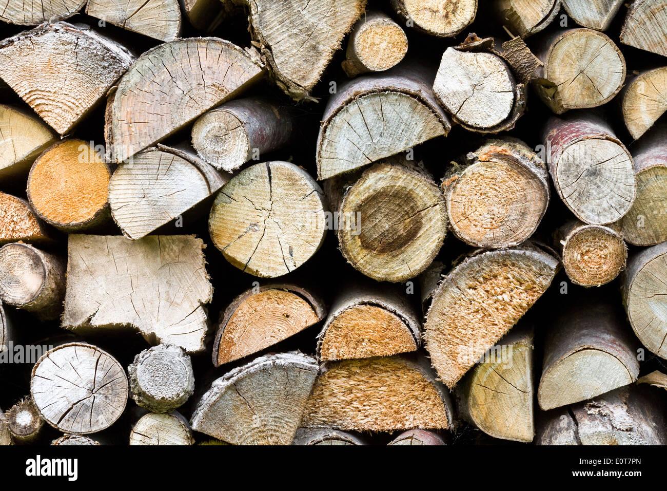 Brennholzstapel - firewood Stock Photo